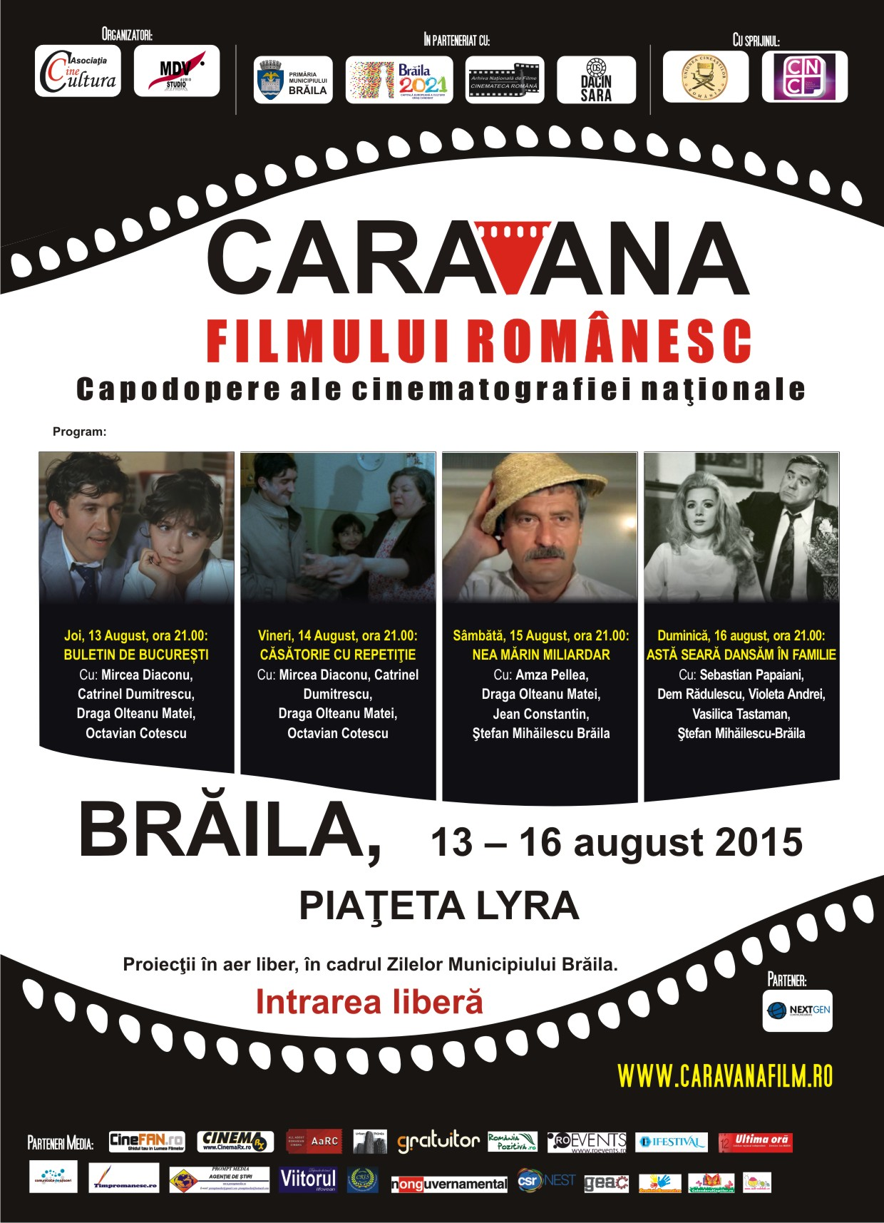 Programul Caravanei filmului românesc la Brăila