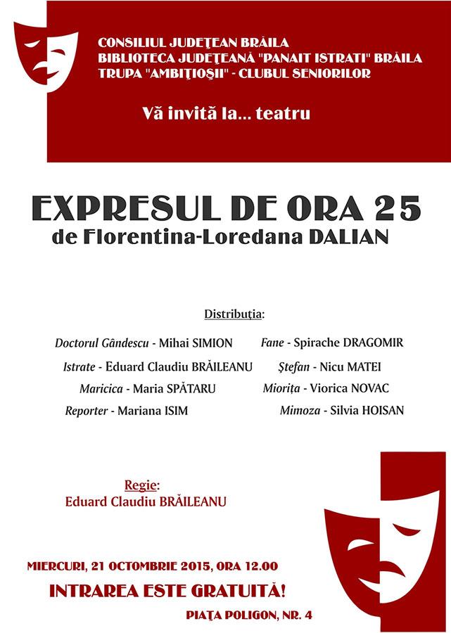 """Photo of Spectacolul de teatru """"Expresul de ora 25"""""""