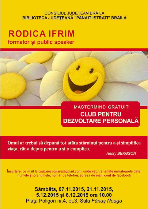 Mastermind gratuit – Club pentru dezvoltare personală, susținut de Rodica Ifrim